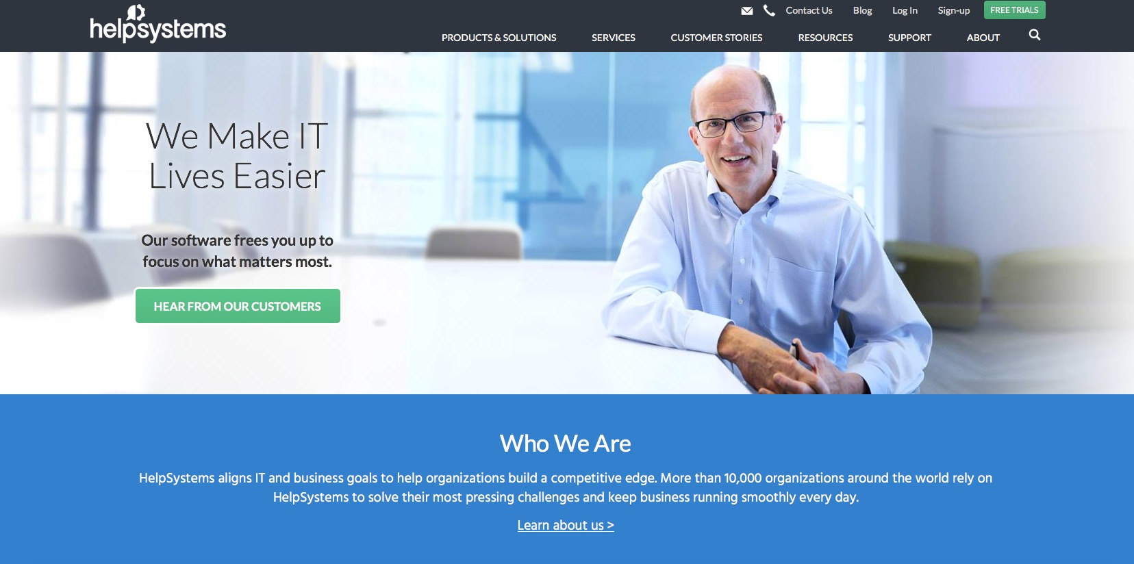 HelpSystems Website Home Page