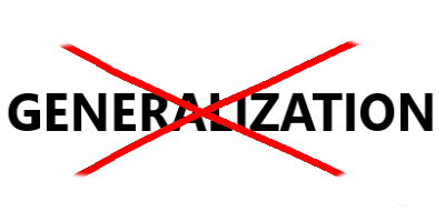 "Image of the word ""Generalization"" crossed out with a red ""x"""