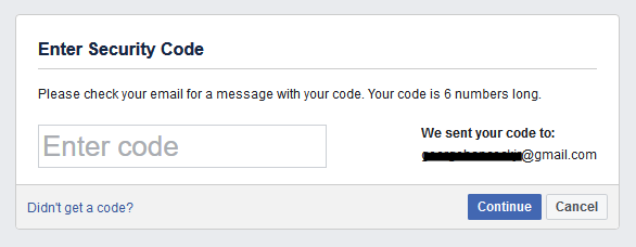 Image of Facebook's 2FA notification