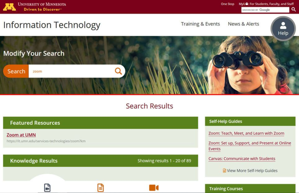UMN OIT Search Page