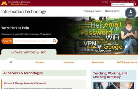 UMN OIT website banner