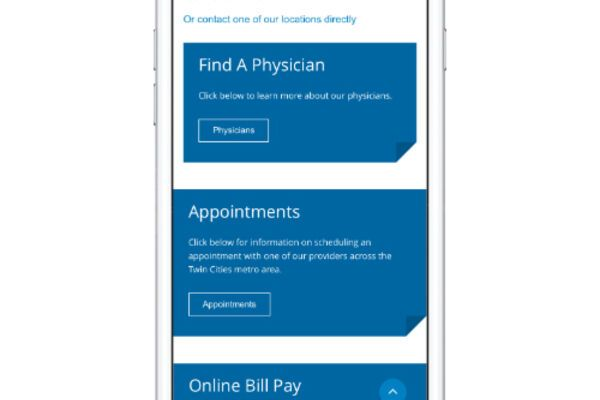 entsc healthcare website on an iphone