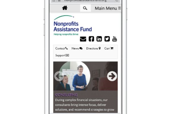 Nonprofits Assistance Fund Website on an iPhone