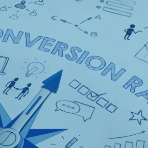 "Pen drawn doodles and outline of the words ""Conversion Rate"""